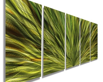 Vivid Green Abstract Metal Wall Art - Modern Metal Painting - Large Colorful 3D Wall Sculpture -Metallic Accent-Emerald Plumage by Jon Allen
