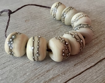Glass Lampwork Bead set of 8 Etched Ivory with Fine Silver Accents