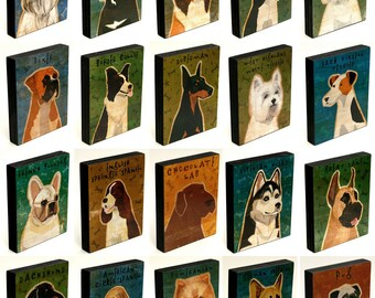 Cute Dog Gift - Whimsical Dog Art Block - You Pick the Mounted Dog Art Print