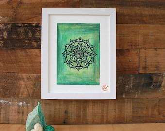 Heart Chakra Mandala, Giclee Fine Art Print
