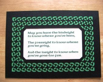 Irish Saying - Hindsight, Foresight, Insight - Paper Cut Celtic Knot Mat 7X5 Unframed