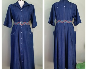 Vintage 80's Willi of California Denim Fit and Flair Shirt Dress, Western Style, Rockabilly Dress,  Size XL