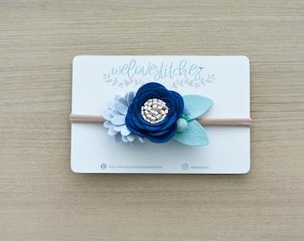 Blue Floral headbands - newborn headbands - felt floral headband - children's photo props - infant headband - baby headband - headbands
