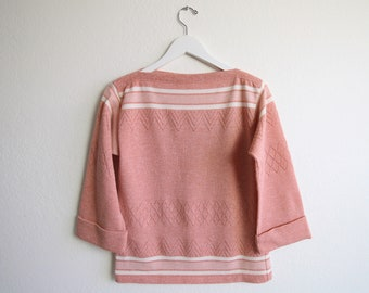 VINTAGE Sweater Pink Sweater 1970s Knit Top Stripes Boat Neck Small