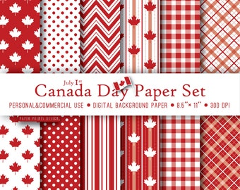 8.5 x 11 Canada Day Digital Paper, 8.5 x 11 print, Canada Day, patriotic, marple leaf, independence day, july 1, canada paper, red white