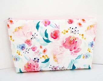 Cosmetic Bag, Make Up Zipper Pouch, Mermaid Floral, Indy Bloom, Pale Pink Watercolor Floral, The Pretties, Bridesmaid Gift