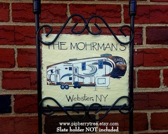 Personalized Custom Camper Fifth Wheel Edition Detailed Graphics Hand Painted Decorative Slate Sign/ Fifth Wheel Camper Personalized Sign