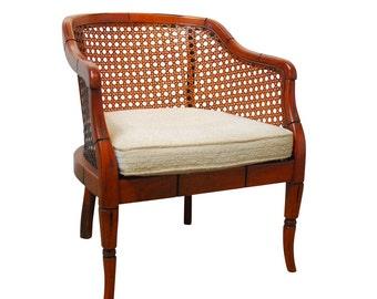 Mid-Century Bamboo Cane Barrel Chair
