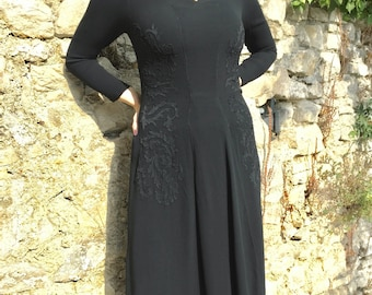 Vintage 40s Black Crepe Dress
