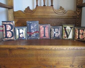 Believe Christmas Sign Word Blocks - Old World Santa Style
