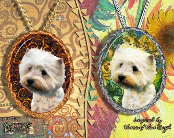 West Highland White Terrier Jewelry Pendant - Brooch Handcrafted Porcelain by Nobility Dogs - Gustav Klimt and Van Gogh