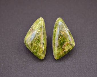 Chrome diopside natural stone cabochons (pair)  21 х 12 х 5,5 mm
