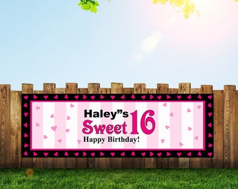 Sweet 16,16th Birthday Banner, 16th Birthday,Birthday Banner,Sweet 16 Banner