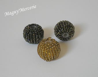 Set of 3 large round bronze and gold seed beads