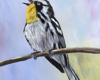 Bird Art Painting Wildlife Yellow Throated Warbler SFA Original hand painted acrylic bird painting by Australian Artist Janet M Graham