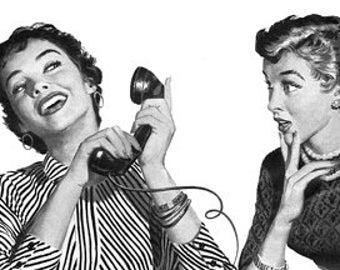 Retro Cartoon Comic Women Talking Phone - Vintage Art Illustration - Digital Image