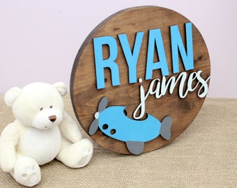 Round Baby Name Sign, Nursery Name Letters, Baby Boy Nursery Decor, Nursery Name Sign, Wall Letters for Boy Nursery, Wood Cutout, Airplane