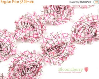 "SALE 30% OFF 2.5"" Printed Shabby Rose Trim- Pink/Gray Quatrefoil- Frayed- Quatrefoil Shabby Trim- Printed Shabby Trim - Hair Accessories Sup"