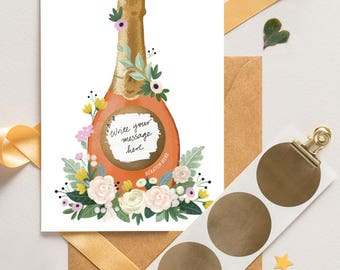 Pop Fizz Clink - Champagne Scratch Off Card - Write Your Message - Bridesmaid Proposal