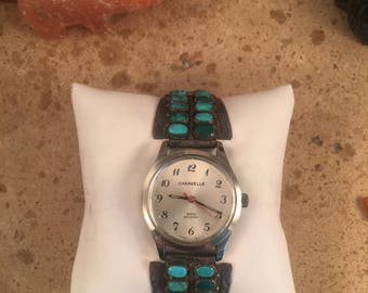 Vintage Navajo Turquoise and Sterling Silver Men's Watch Signed