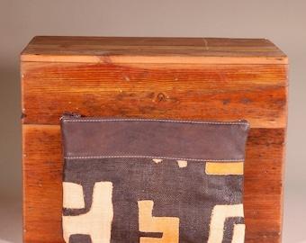 Large Leather Kuba Cloth Clutch - Kuba Cloth Purse - Boho Leather Clutch - Ethnic Leather Clutch - Tribal Leather Clutch