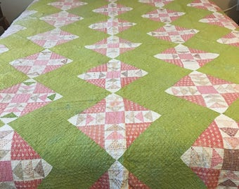 Beautiful Antique Quilt in a Unique Green Background!  Vintage at its best! Quilt Top