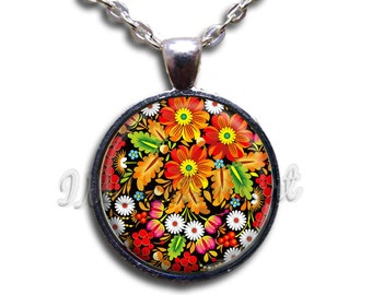 Zhostovo Painting Flowers Glass Dome Pendant or with Chain Link Necklace NT127