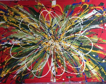 Hand Painted Abstract Floral Canvas