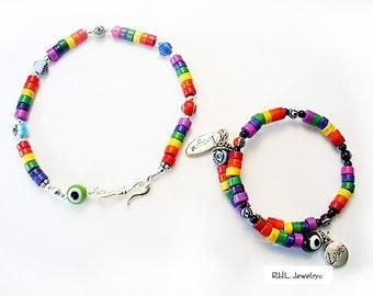 Rainbow Bracelets, Evil Eye Jewelry, Rainbow Pride Imagine Love,  - B2016-16