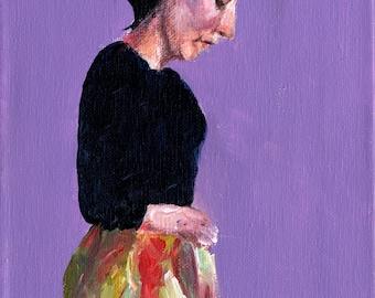 Portrait Painting Art Print - lilac purple, woman painting, simple, modern decor