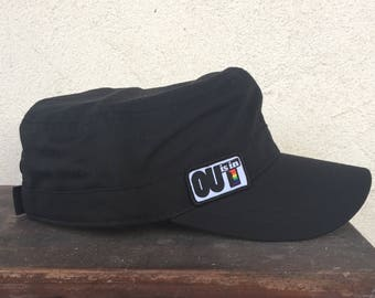 OUT is in USA Cadet Style Cap, Cadet Cap, Fidel castro cap, military style cap, cadet hat, black cadet cap, cadet hat,