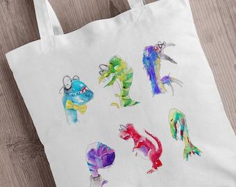 Dinosaur Tote Bag - UK Artist, Shopping Bag, Tote Shopper, Rainbow Dino Illustrations, Nerd Gift, Dinosaur Gift Idea, Zombie Tote Bag