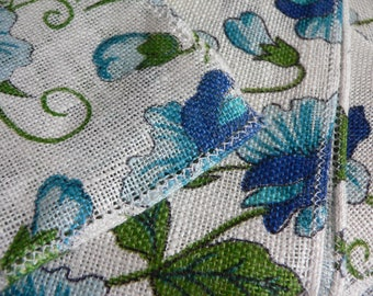 FREE SHIPPING!!! Set of Four Hallie St. Mary Blue Floral Napkins