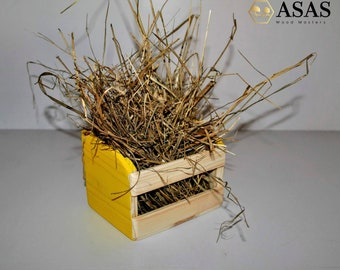 Guinea pig Rabbit accessories, hay rack, grass, food container wood / ASAS LT
