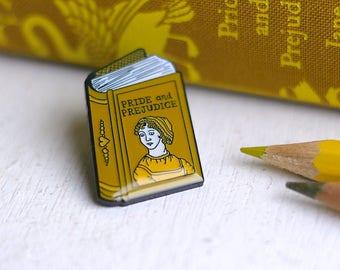 Book Pin Jane Austen Enamel Pin Pride and Prejudice Enamel Pin Badge Book Enamel Pin Book Worm Author