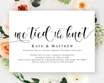 We tied the knot invitations Editable wedding invitation Post wedding reception invitation Elopement reception invitation template #vm31
