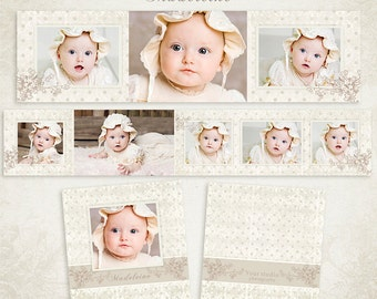 3x3 Accordion Album Template for Photographers - Madeleine - ID119, Instant Download