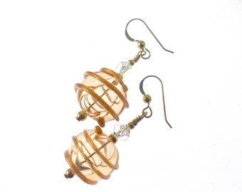 Handmade Lampwork Earrings, Glass Bead Earrings, Bronze Earrings, Dangle Drop Earrings, Lampwork Jewelry, Glass Bead Jewelry