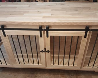 Double X-Large dog crate kennel, barn doors, oak top