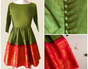 Green and Orange Fit & Flare Madurai Saree Dress