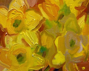 Daffodils Small Still Life Original Oil Painting on Canvas