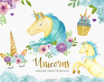 Watercolor unicorn clipart, unicorns clip art, unicorn party, watercolour clipart, unicorn face, unicorn cupcake, magical creatures