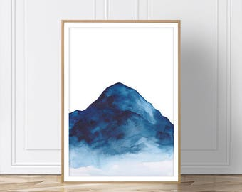 Blue Mountain Art, Mountain Wall Decal, Mountain Print, Mountain Art, Art Print, Blue Mountain, Modern Art, Landscape Art, Scandinavian, Art