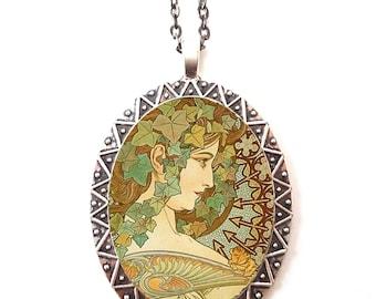Alphonse Mucha Necklace Pendant Silver Tone - Art Nouveau Boho Bohemian Ivy Cameo Gypsy 2