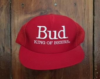 Vintage Bud Budweiser Beer Mesh Trucker Hat Snapback Hat Baseball Cap * Made In USA