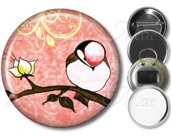 Little Bird Pocket Mirror, Magnet, Bottle Opener Key Ring, Pin Back Button, Bird on Branch, Pink, Salmon, Purse Mirror, Compact Mirror,