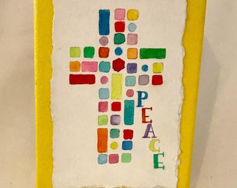 Peace Mosaic Cross. Original watercolor mounted on freestanding 5x7 canvas block.