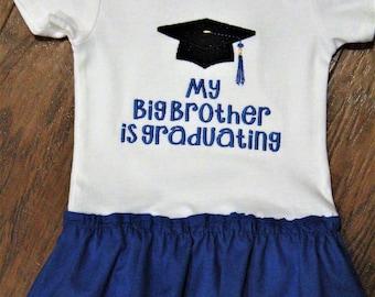 Big Brother, graduation, graduation cap, baby girl clothes, baby girl, bodysuit, baby dress, college graduation, University of Kentucky,blue