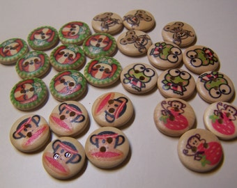 """SALE ~ Whimsical Animals 5/8"""" Wooden Hand Painted Novelty Buttons , Lot of 26"""