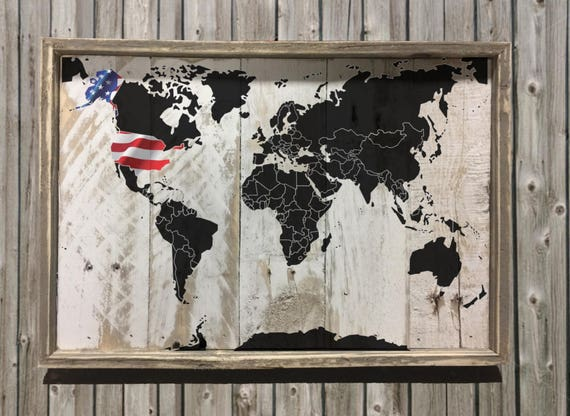 World map rustic memories reclaimed wood wall art usa world map decor home kitchen images one of a kind item perfect gumiabroncs Image collections